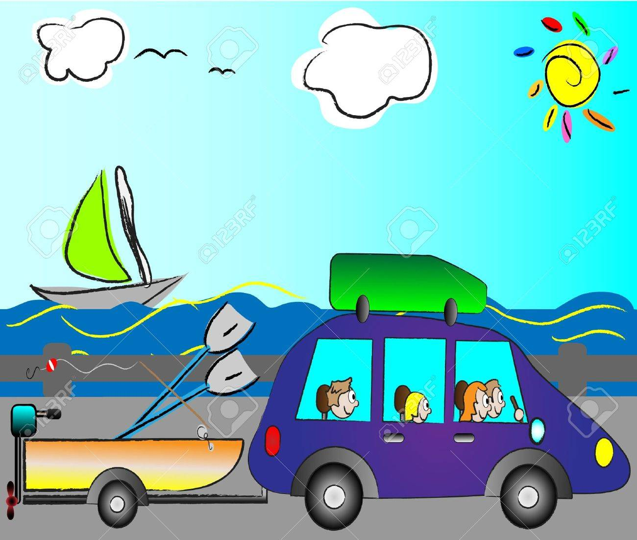 happy family traveling on holiday by funny car Stock Vector - 14295828