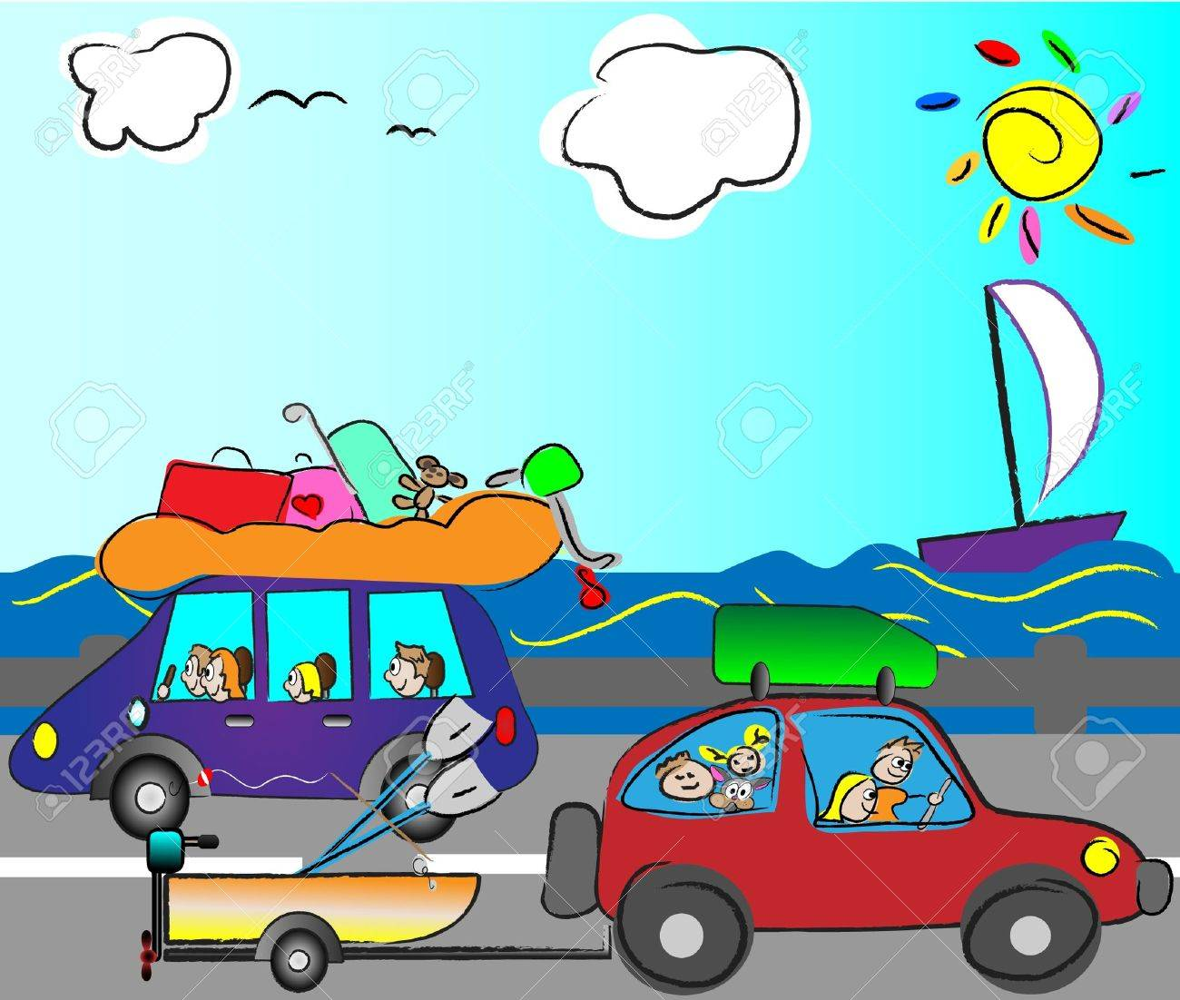 happy family traveling by car Stock Vector - 14398963