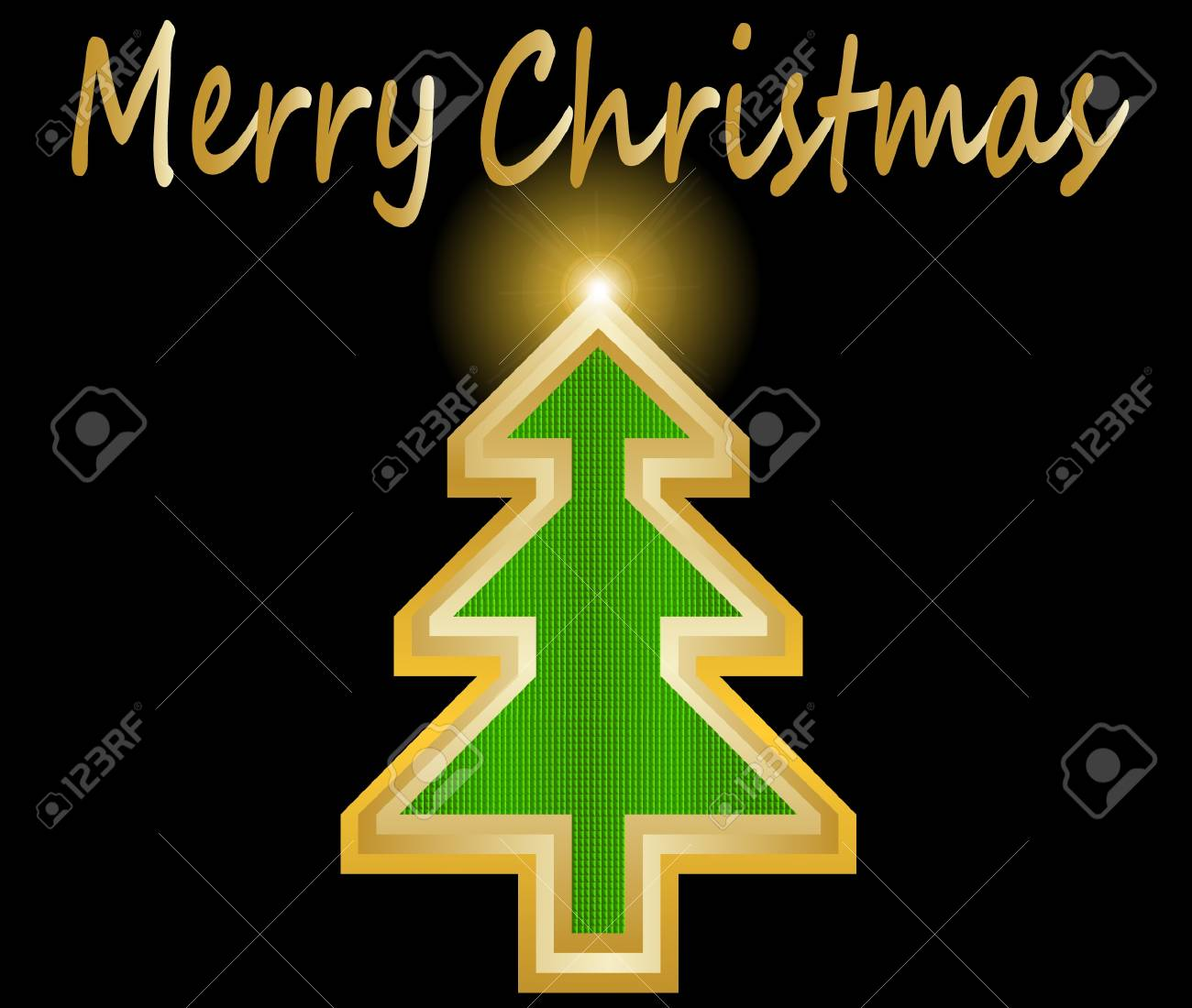 Simple golden and glossy Christmas tree vector illustration Stock Vector - 16123144
