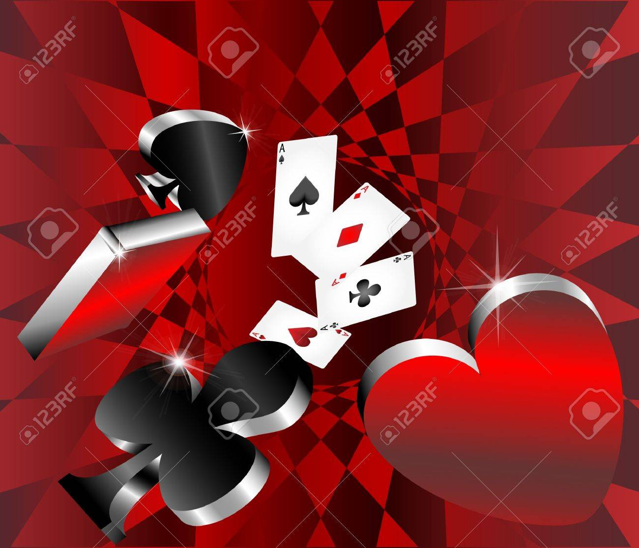 gambling icons cards shiny metallic glossy symbols of playing cards abstract background vector illustration Stock Vector - 17956018