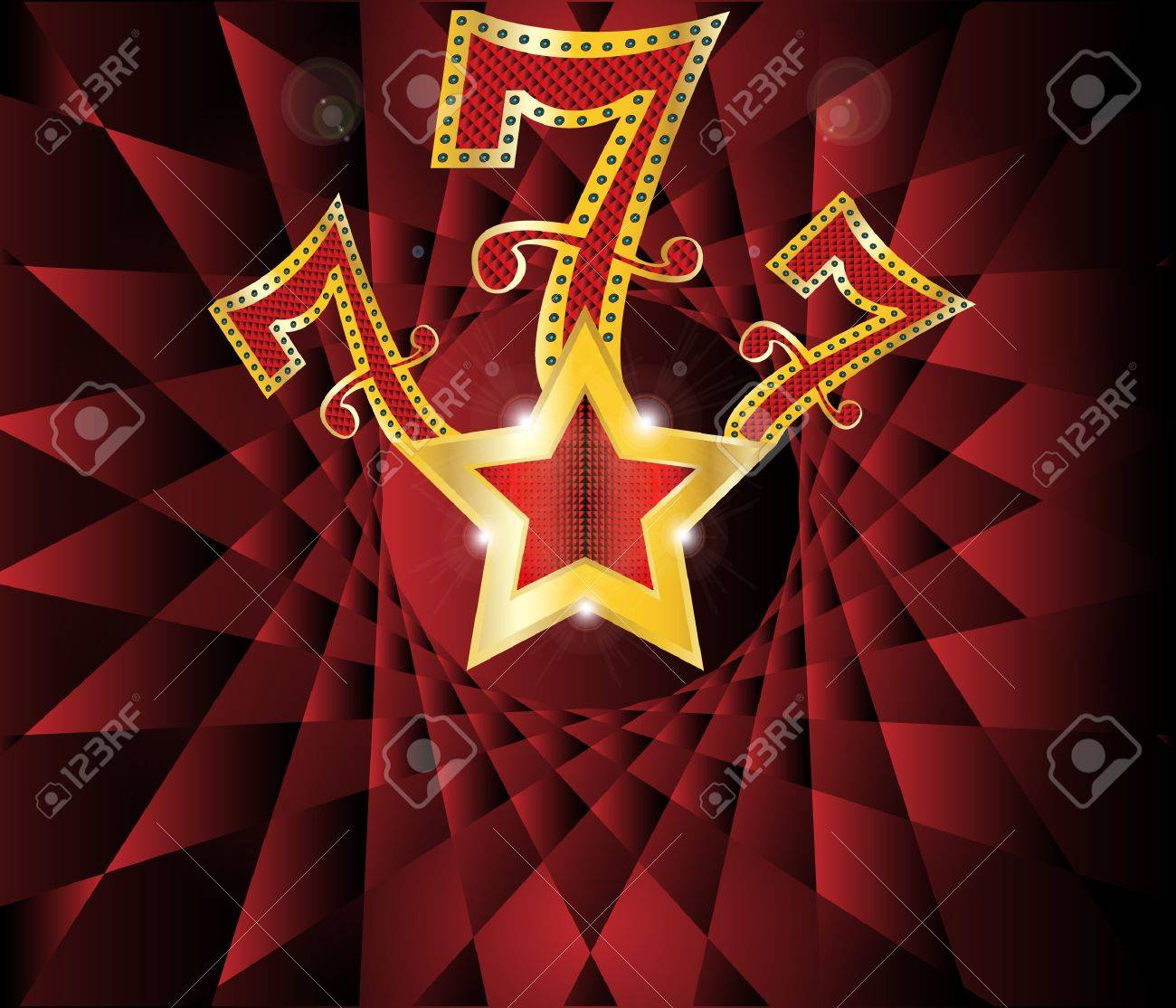 lucky seven  with gold star and reflection on black background  illustration Stock Vector - 18299453