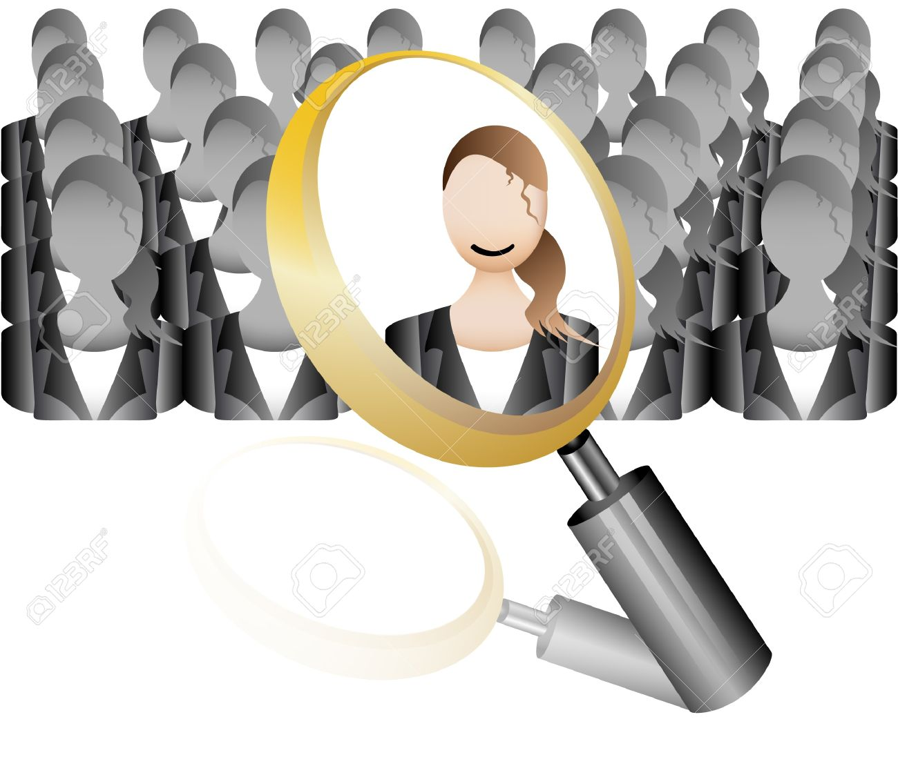 search Employee Icon for Recruitment Agency Magnifier with Business Stock Vector - 18583035