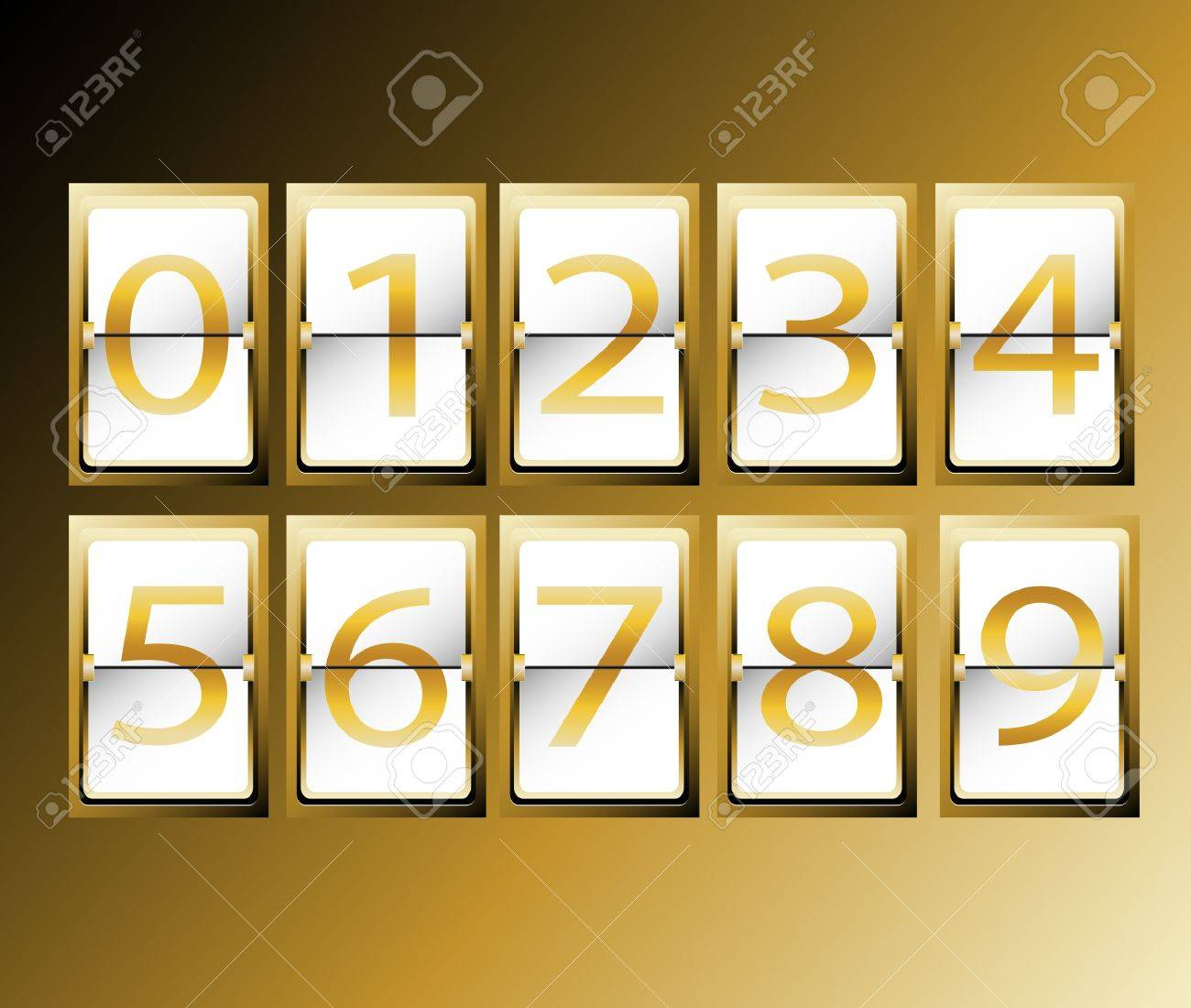 numbers on Airport Terminal timetable Display Font Set gold vector illustration Stock Vector - 18976527