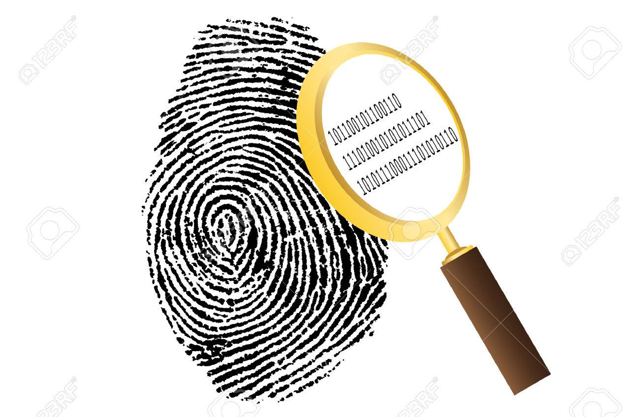 fingerprint with magnifying glass and binary code security vector