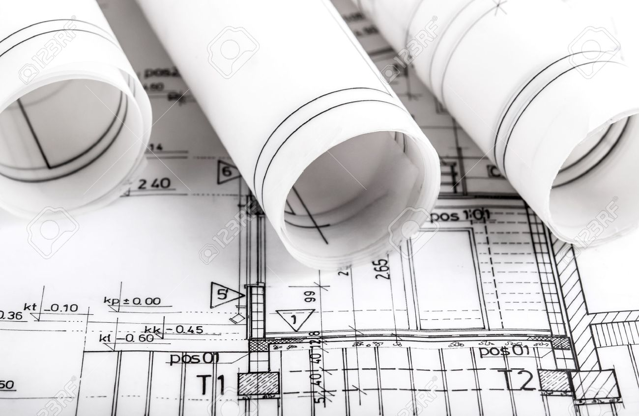 Construction Industry Architecture Rolls Architectural Plans Stock