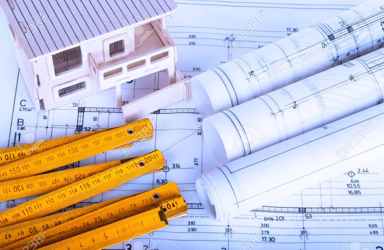 stock photo construction industry architecture rolls architectural plans project architect blueprints real estate concept