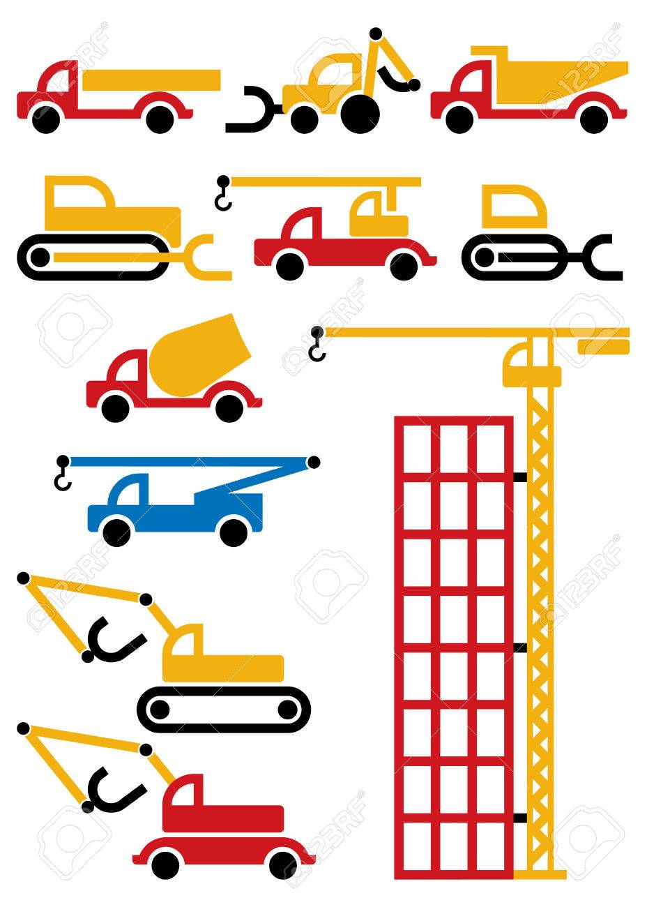 construction machines and equipment, design elements Stock Vector - 7805895