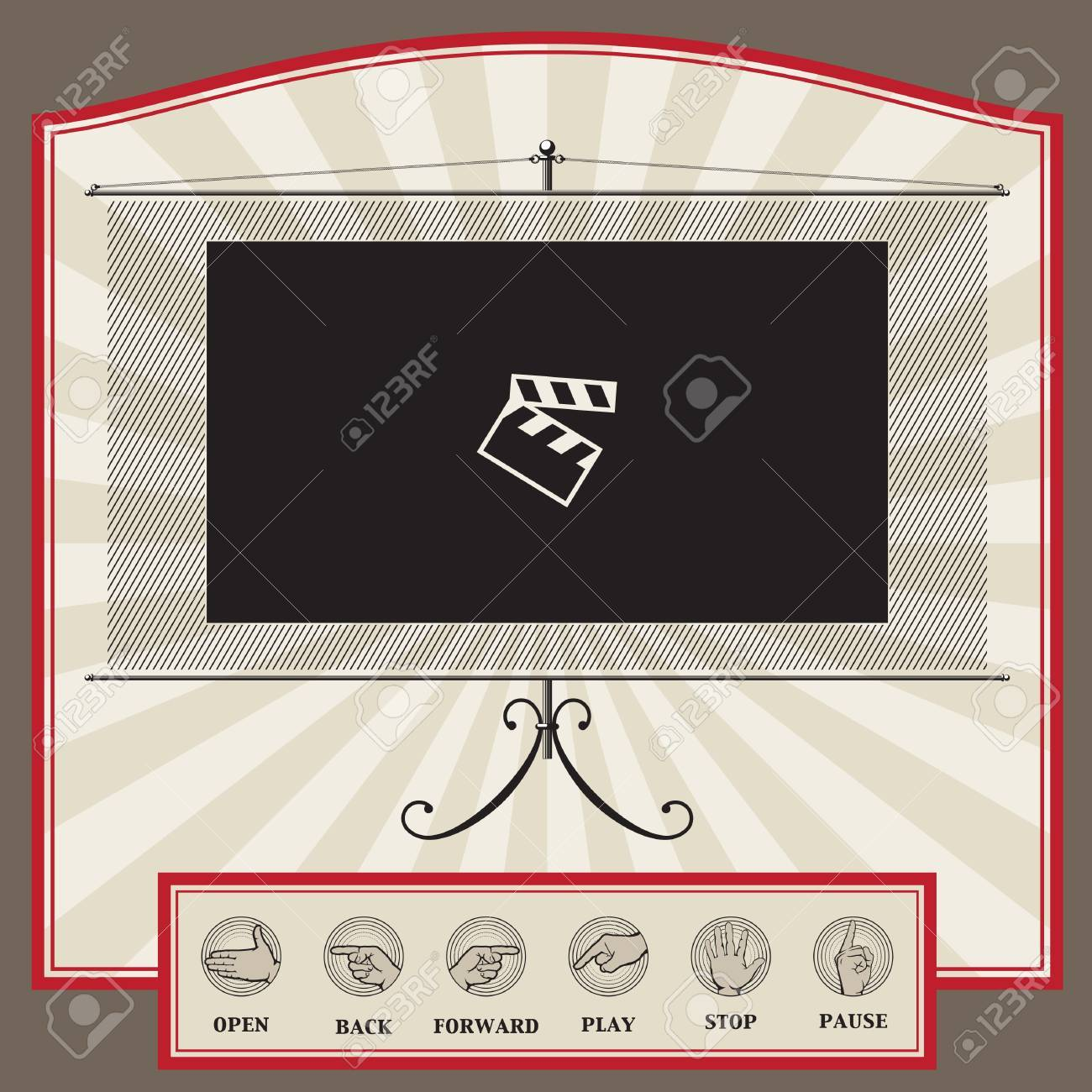 web interface template in vintage style for video player, video blog or video broadcasting site Stock Vector - 10828409