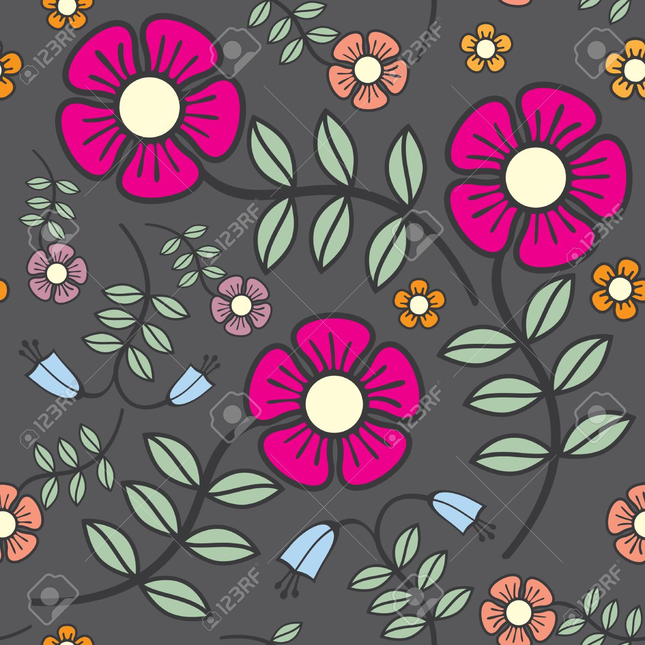 seamless background flowers in crayon shades Stock Vector - 10985220