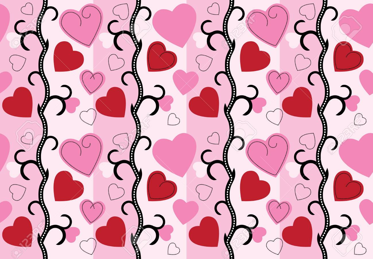 valentine background with hearts and roses Stock Vector - 12043362