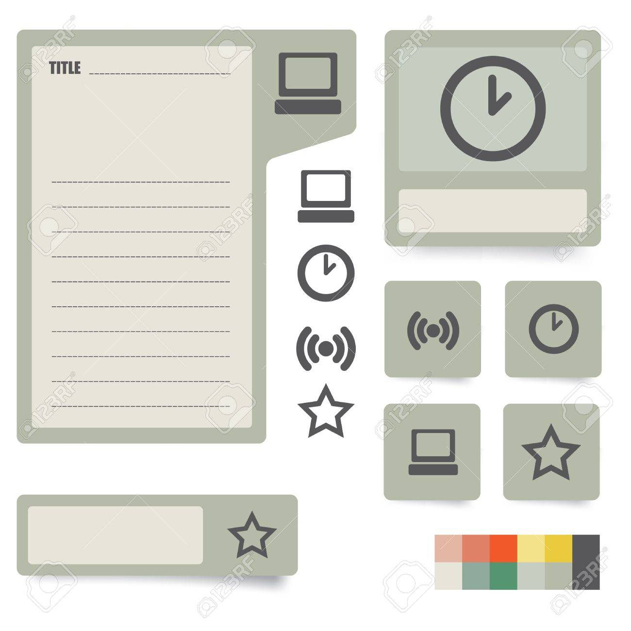 Icons And Paper Stickers With Instruments Components And Features