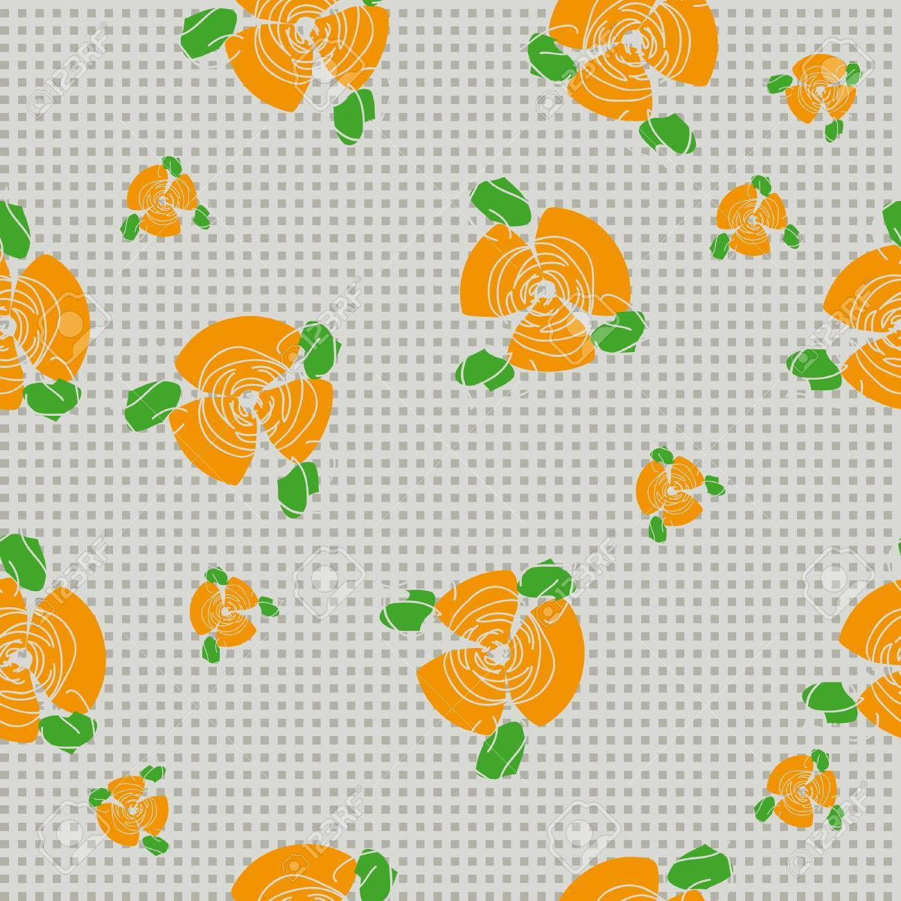 traditional handmade folk seamless floral background with orange roses for textile design,  and high quality print Stock Vector - 21438785