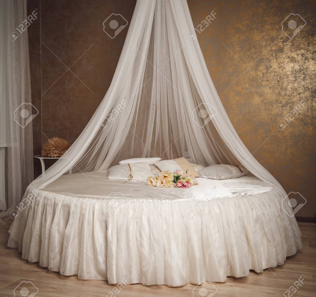 Home Interior With White Circle Bed With Canopy. Stock Photo   55495898
