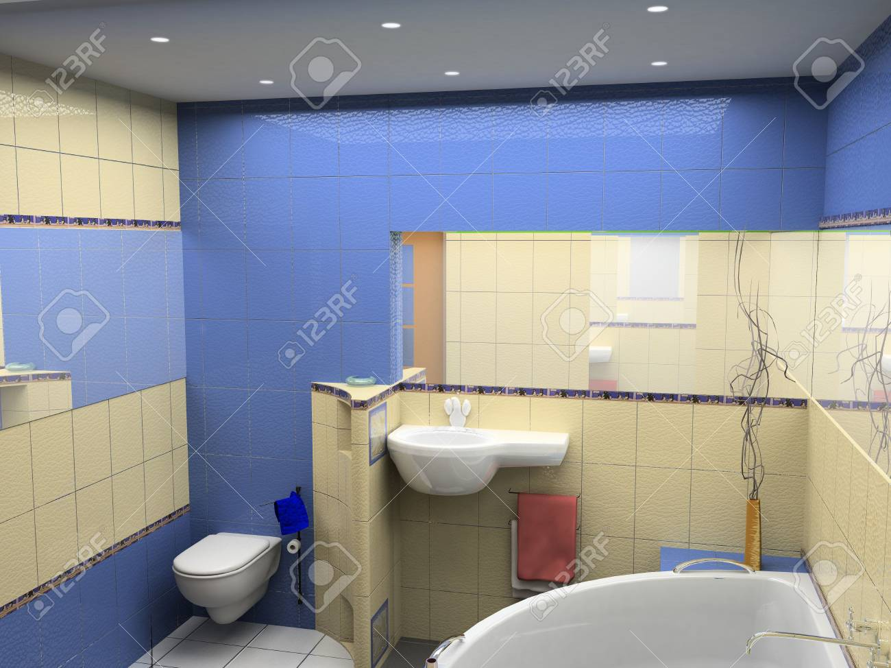 design of the modrn bath room interior (3D) Stock Photo - 608331