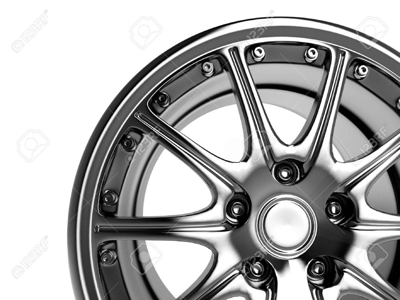 close up rendering part of chrome car rim (3d) Stock Photo - 906416