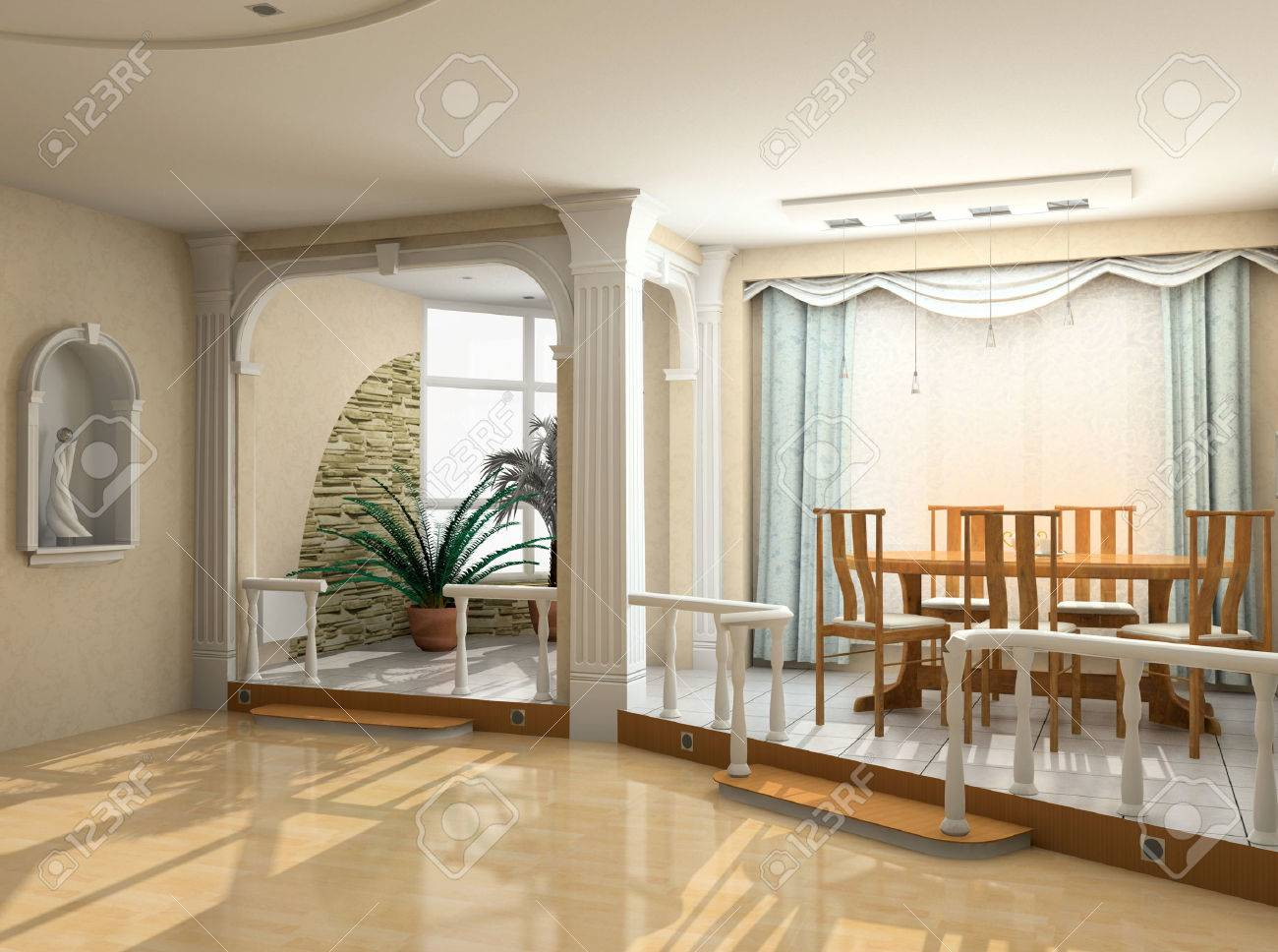 modern interior design in classic style (privat apartment 3d rendering) Stock Photo - 1412278