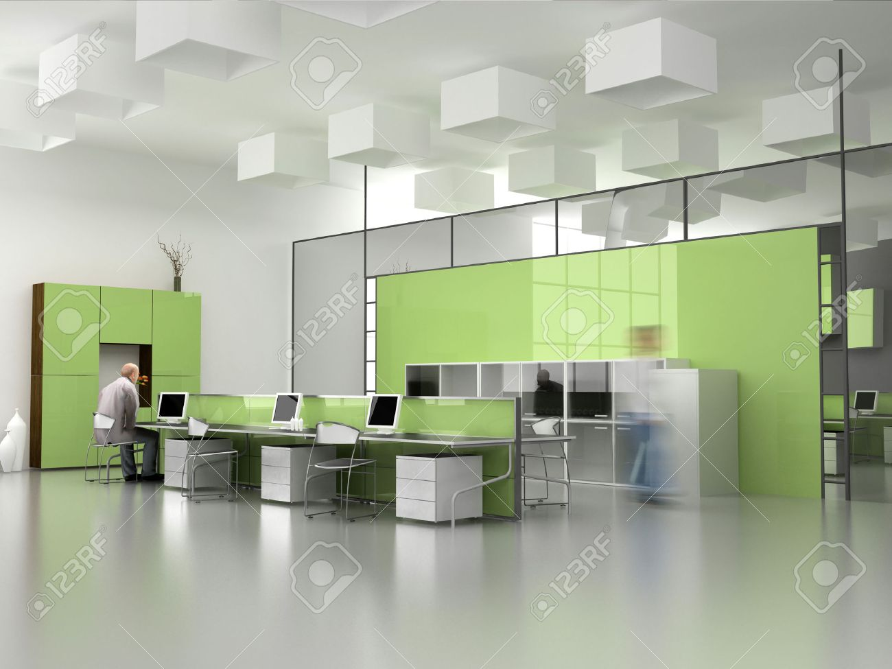 The Modern Office Interior Design (3d Render) Stock Photo   1412276