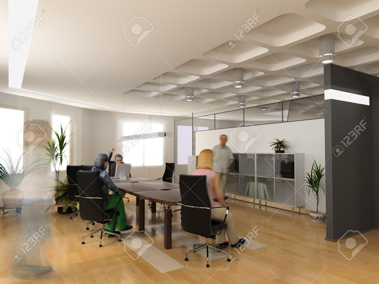 Les bureaux modernes design d intérieur d rendre banque d