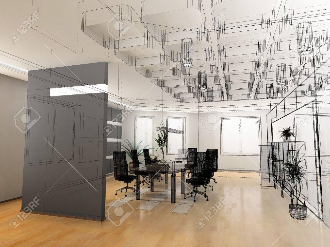 modern office interior design. Stock Photo - The Modern Office Interior Design Sketch (3d Render)