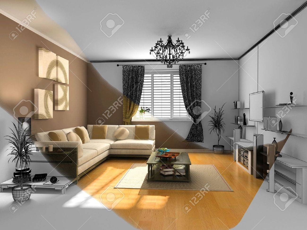 The Modern Interior Sketch Wireframe Rendering Stock Photo