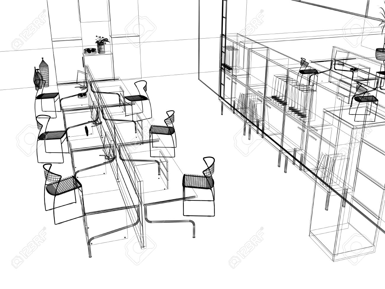 the modern office interior design sketch 3d render stock photo 2090537