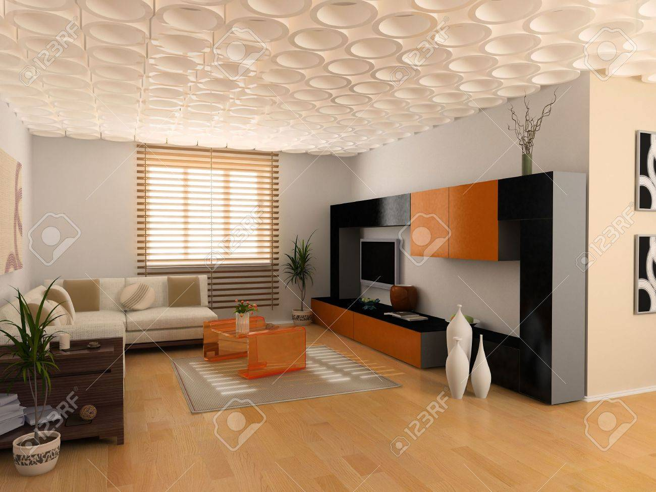 Modern Interior Design Private Apartment 3d Rendering Stock Photo