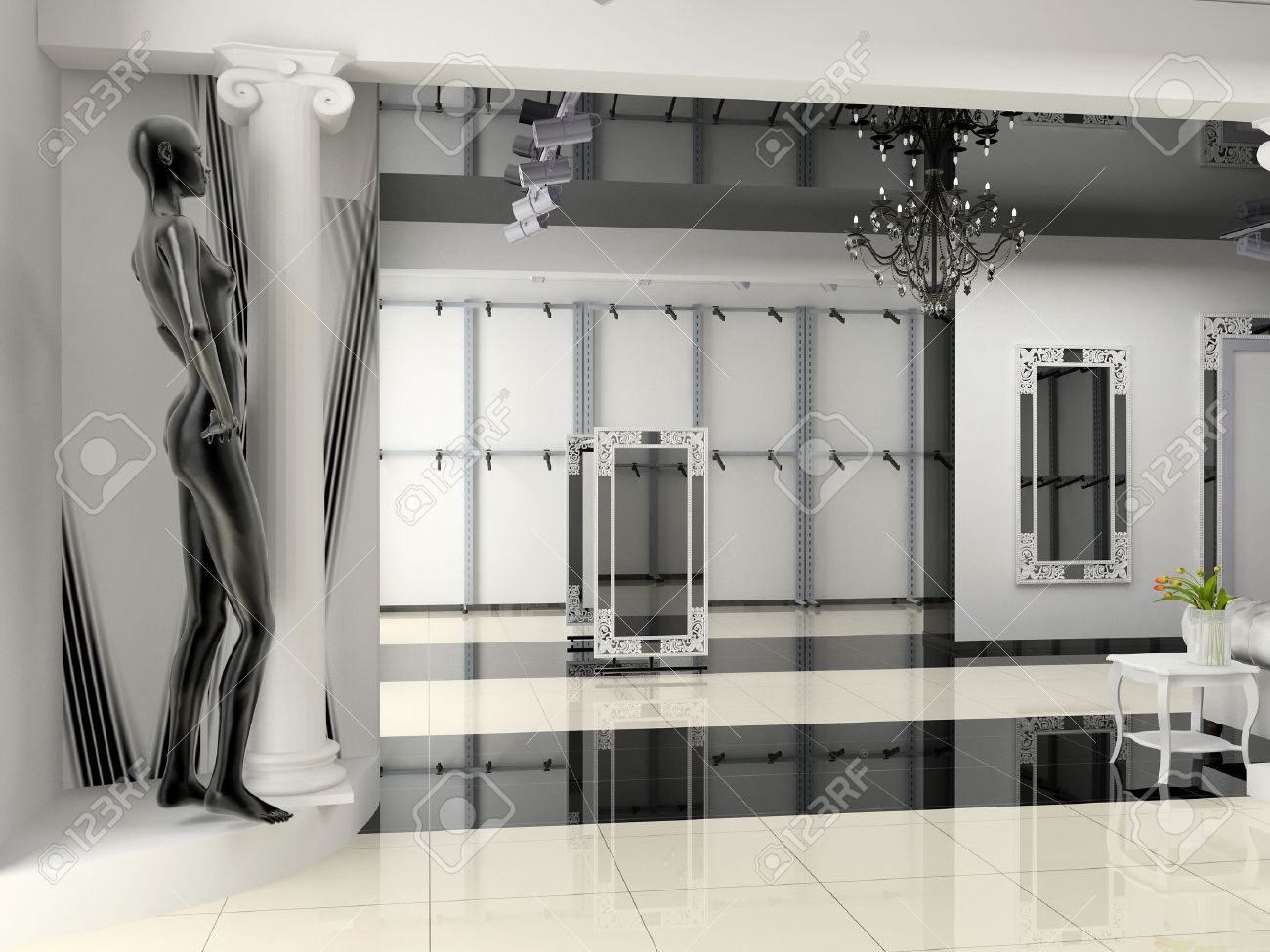 The Modern Shop Interior Design Project 3D Image Stock Photo
