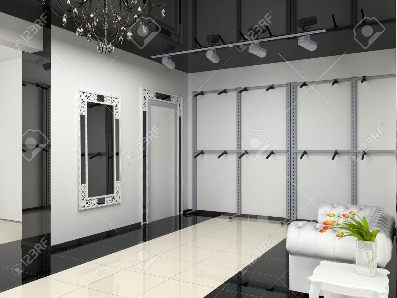 The Modern Shop Interior Design Project (3D Image) Stock Photo ...