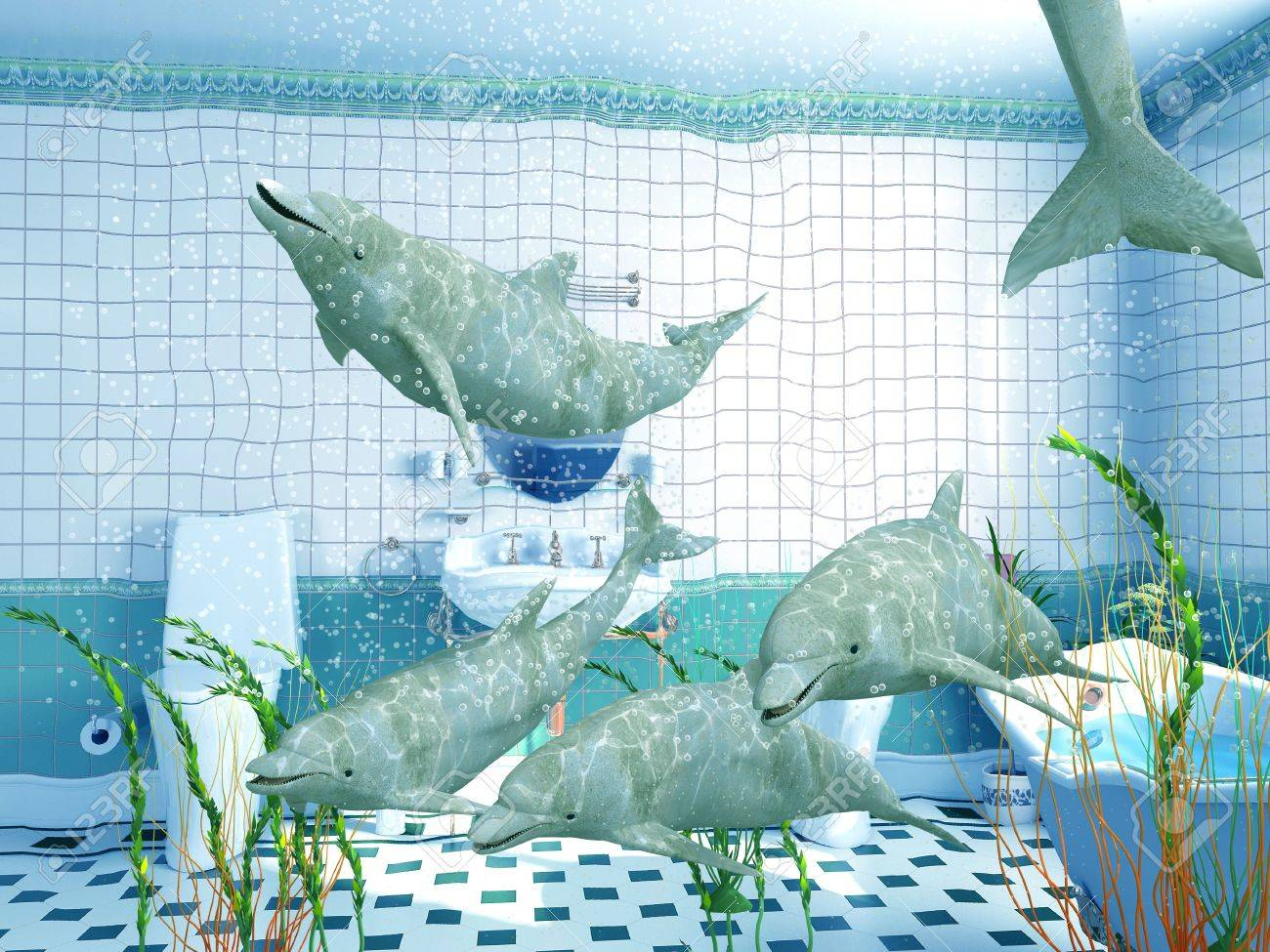 the dolphins in bathroom interior (3D rendering) Stock Photo - 2409753