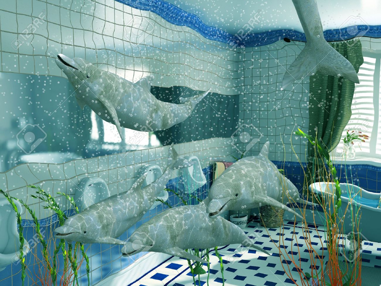 the dolphins in bathroom interior (3D rendering) Stock Photo - 2409755