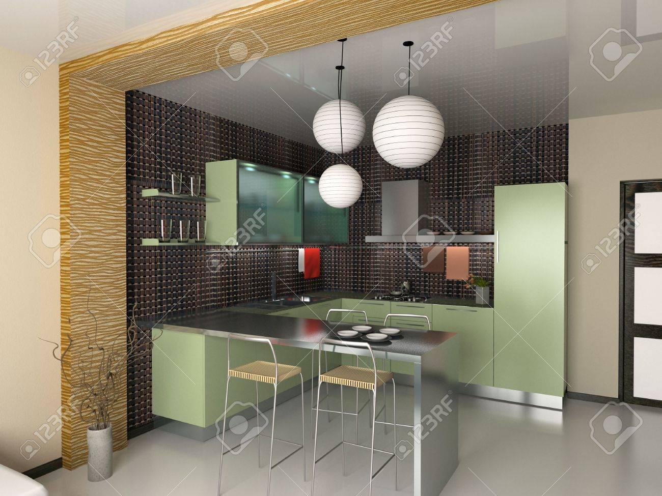 stock photo the modern kitchen interior design 3d rendering - Modern Kitchen Interior Design