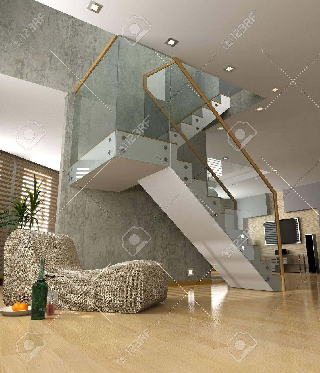 Modern Interior Design Private Apartment 3d Rendering Stock Photo