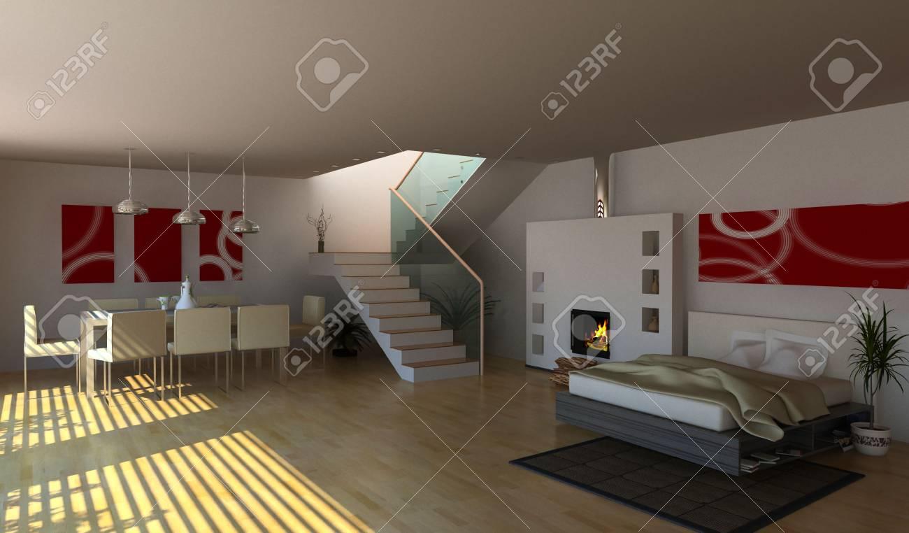modern interior design (3D rendering) Stock Photo - 3219246