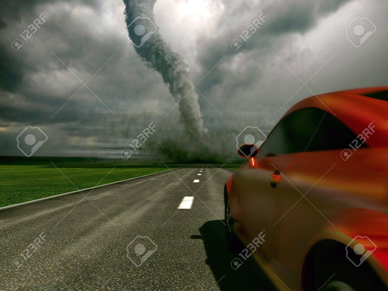 The car rushes on road towards to a tornado (3D) Stock Photo - 3537170