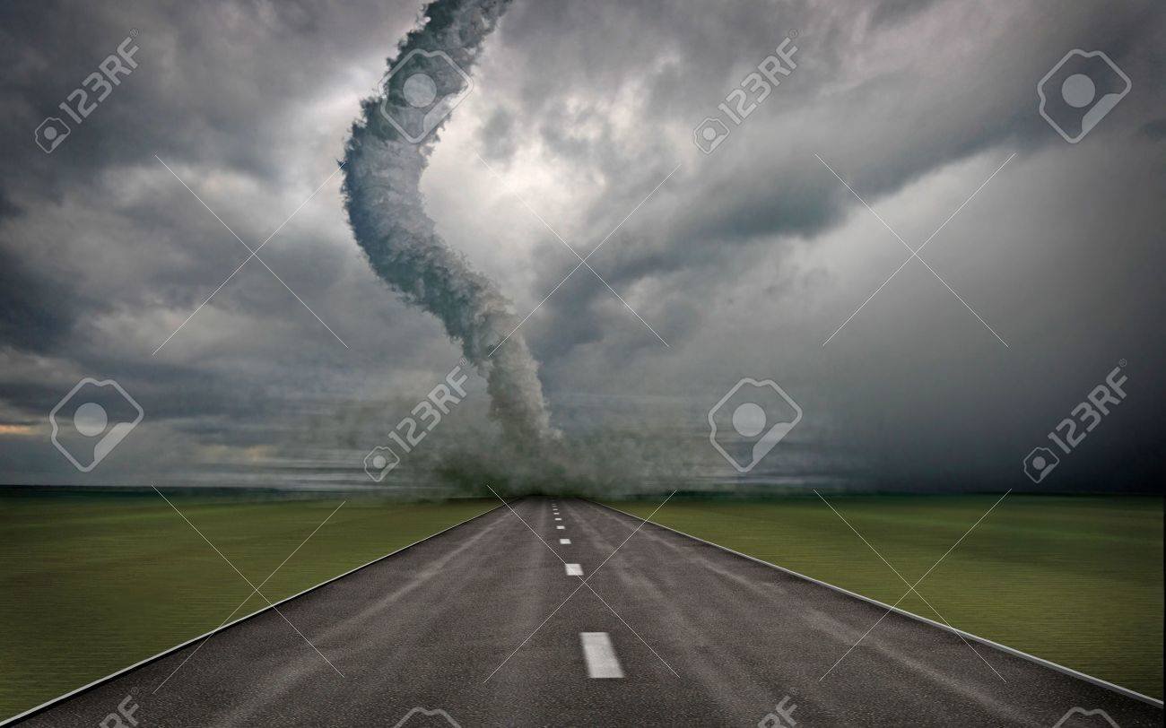 large tornado over the road (3D rendring) Stock Photo - 3537167