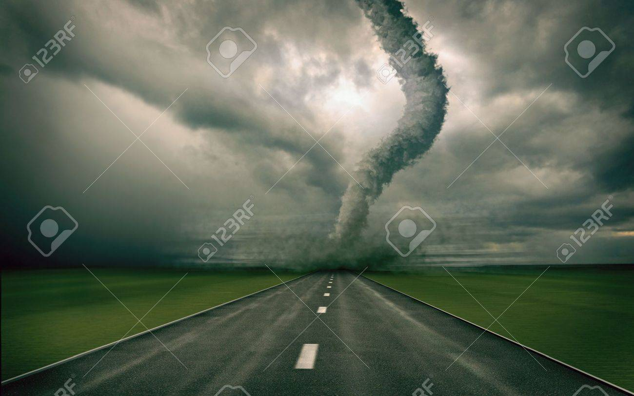 large tornado over the road (3D rendring) Stock Photo - 3534808