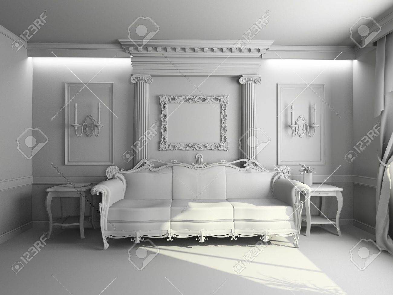 Blank Modern Classic Interior Design (private Apartment 3d Rendering) Stock  Photo   3559126