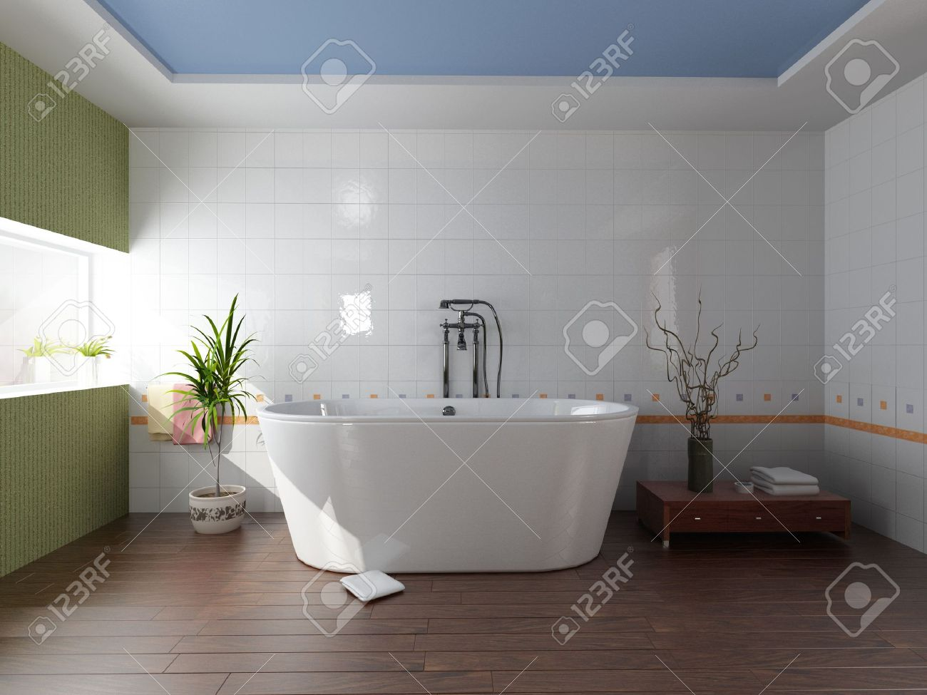 bagno moderno con vasca (rendering 3d) foto royalty free, immagini ... - Bagni Moderni Con Vasca