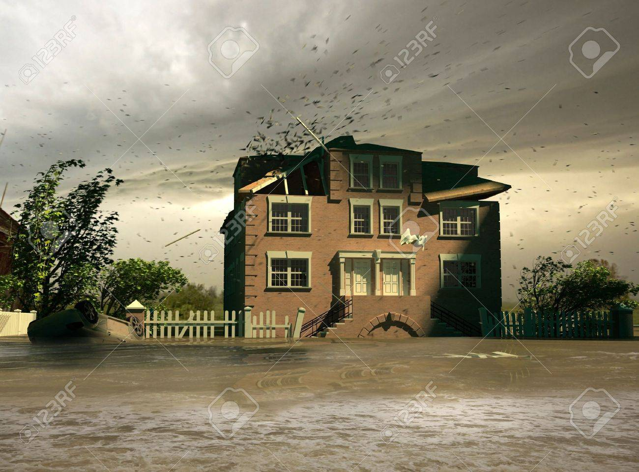 the flooding  (3D render) Stock Photo - 3701540