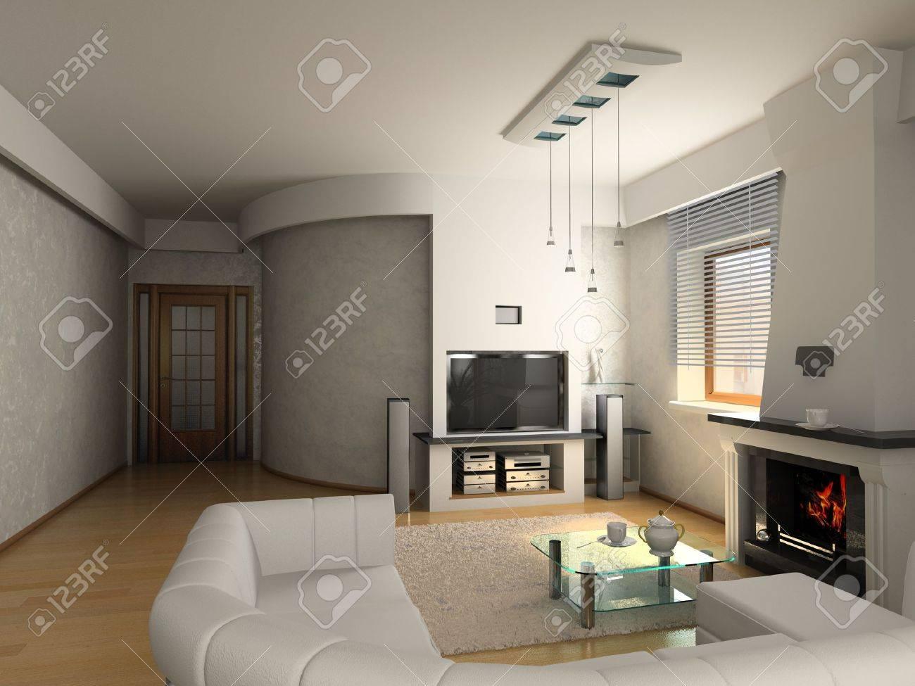 modern luxury living room 3d stock photo 4328747