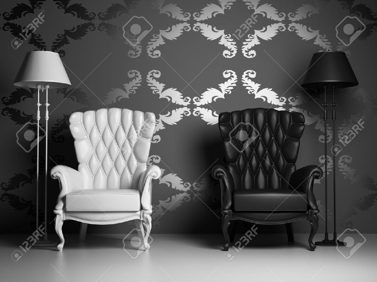 Weiß Schwarz Vintage Sessel über Barock Tapeten 3d Lizenzfreie