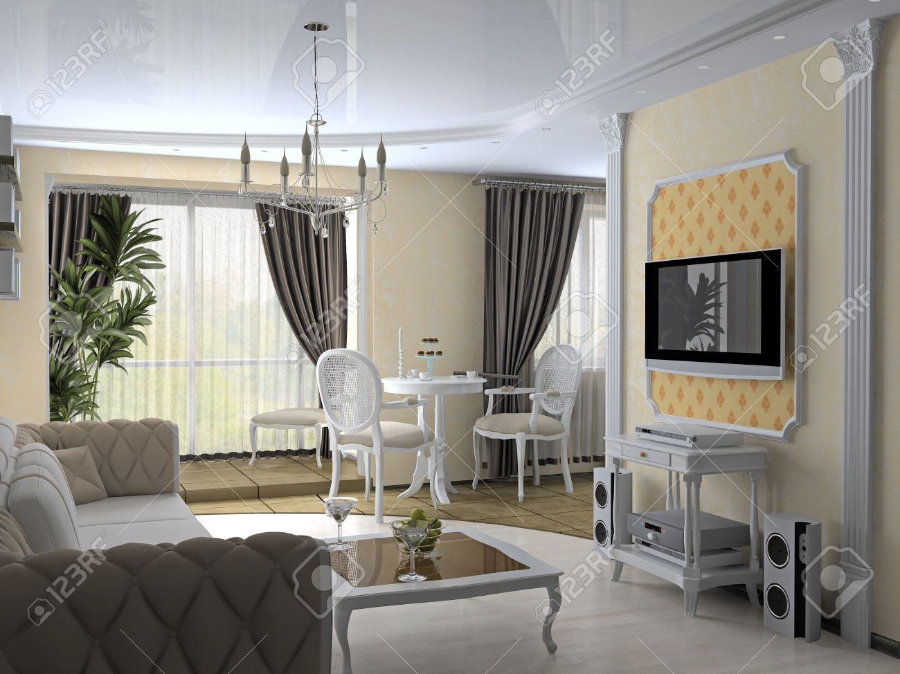 modern interior in classic style (3D rendering) Stock Photo - 4500749