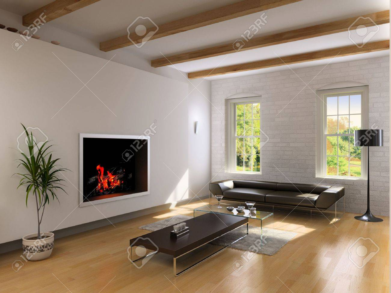 rendering fireplace part 32 a classic interior with wood