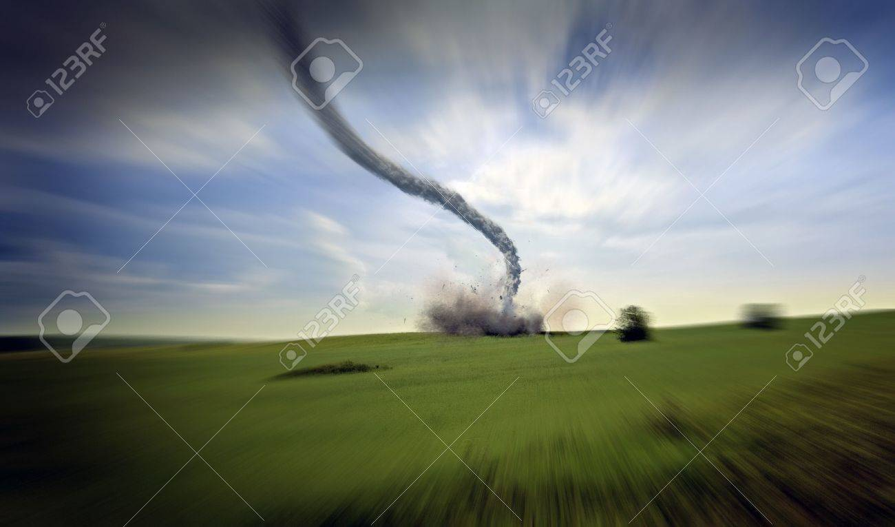 large tornado over the meadow (3D rendering) Stock Photo - 5043995