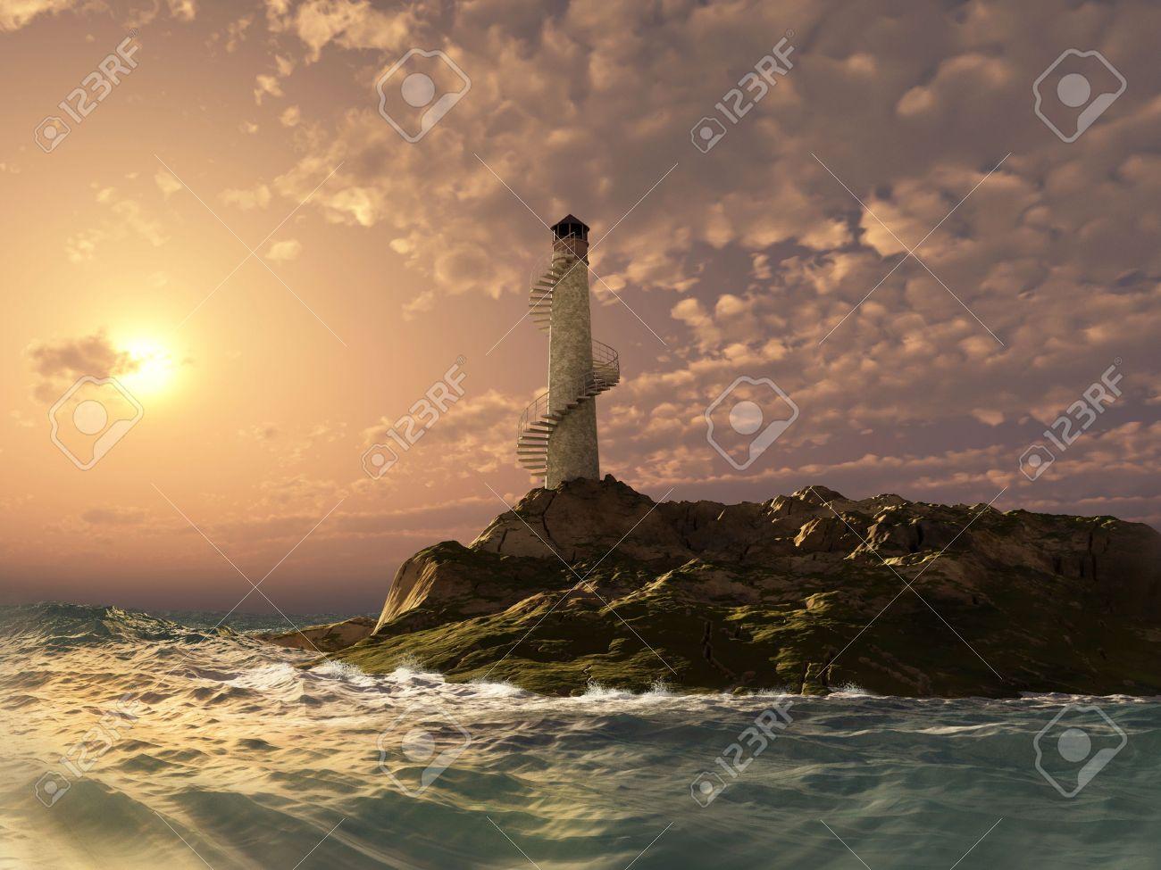 sunset lighthouse landscape ( 3d rendering) Stock Photo - 5433688