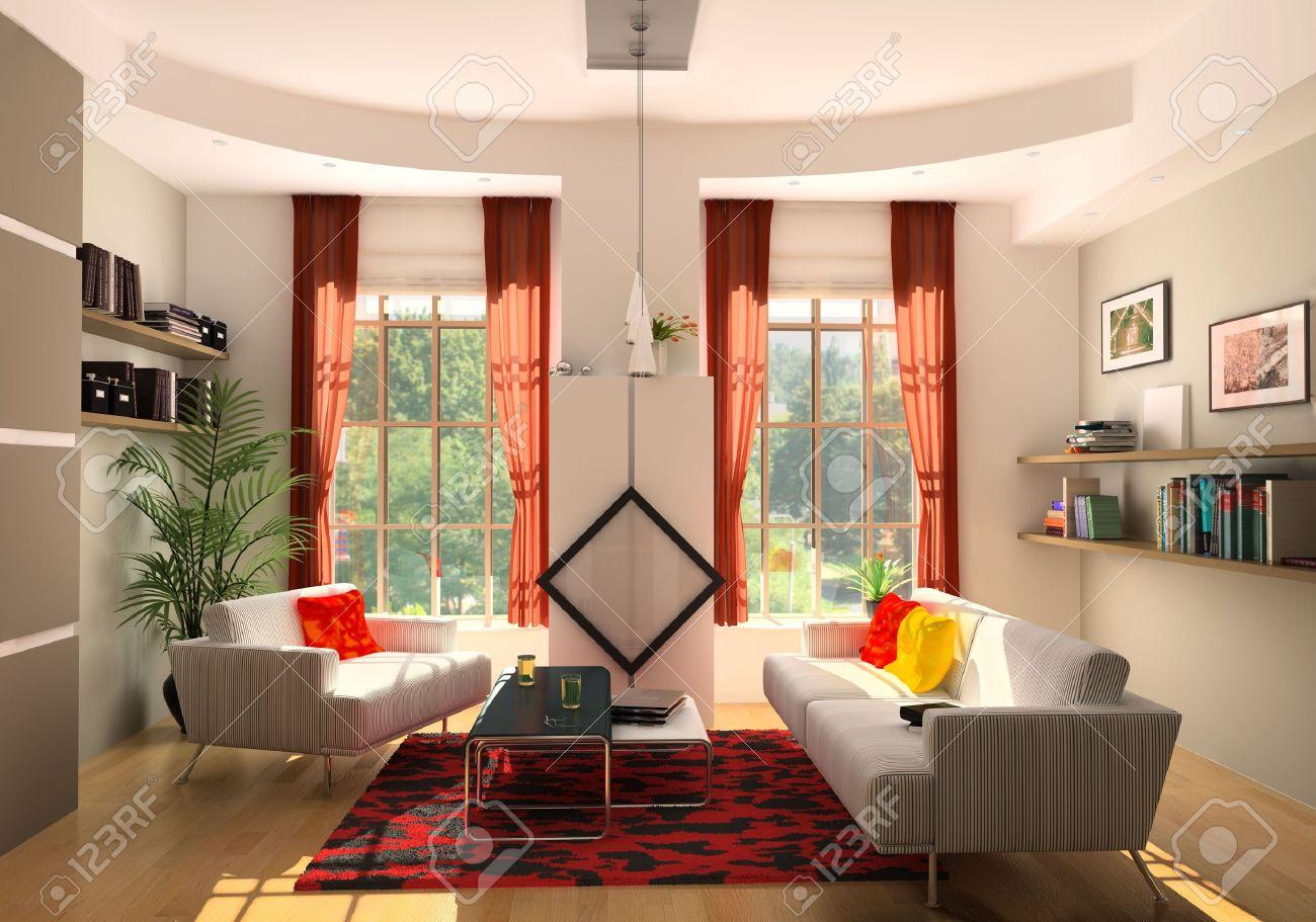 Moderne wohnzimmer interieur (3d rendering) lizenzfreie fotos ...