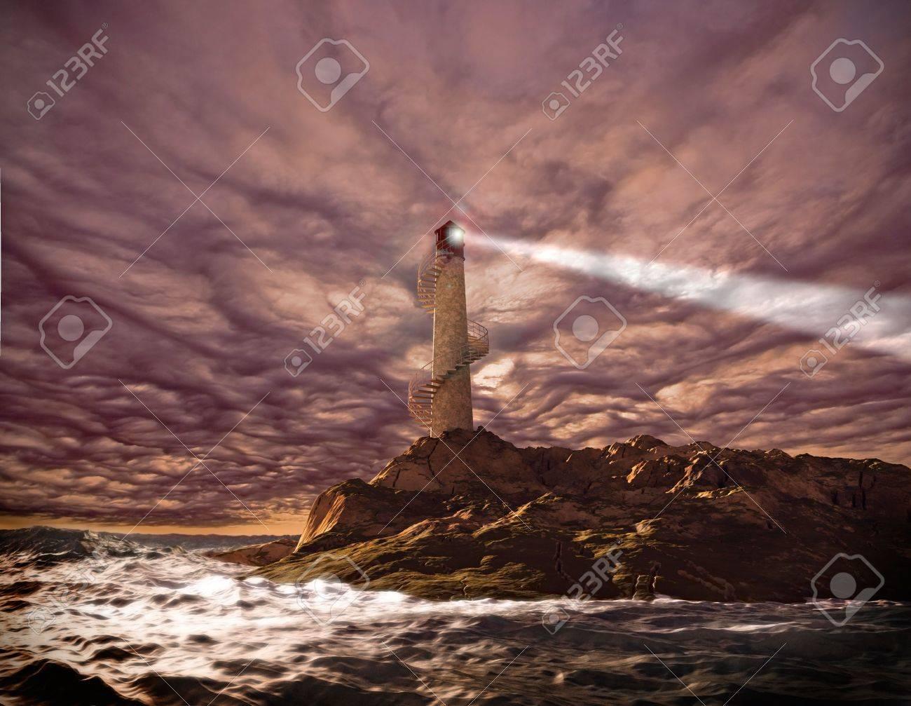 sunset lighthouse landscape ( 3d rendering) Stock Photo - 6670773