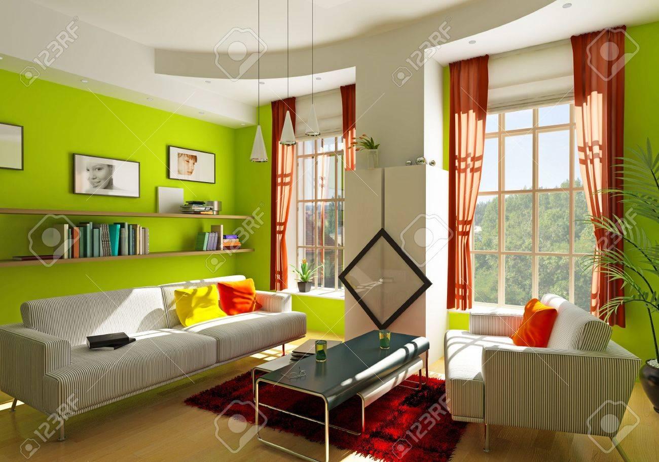 modern living room interior (3D rendering) Stock Photo - 6638150