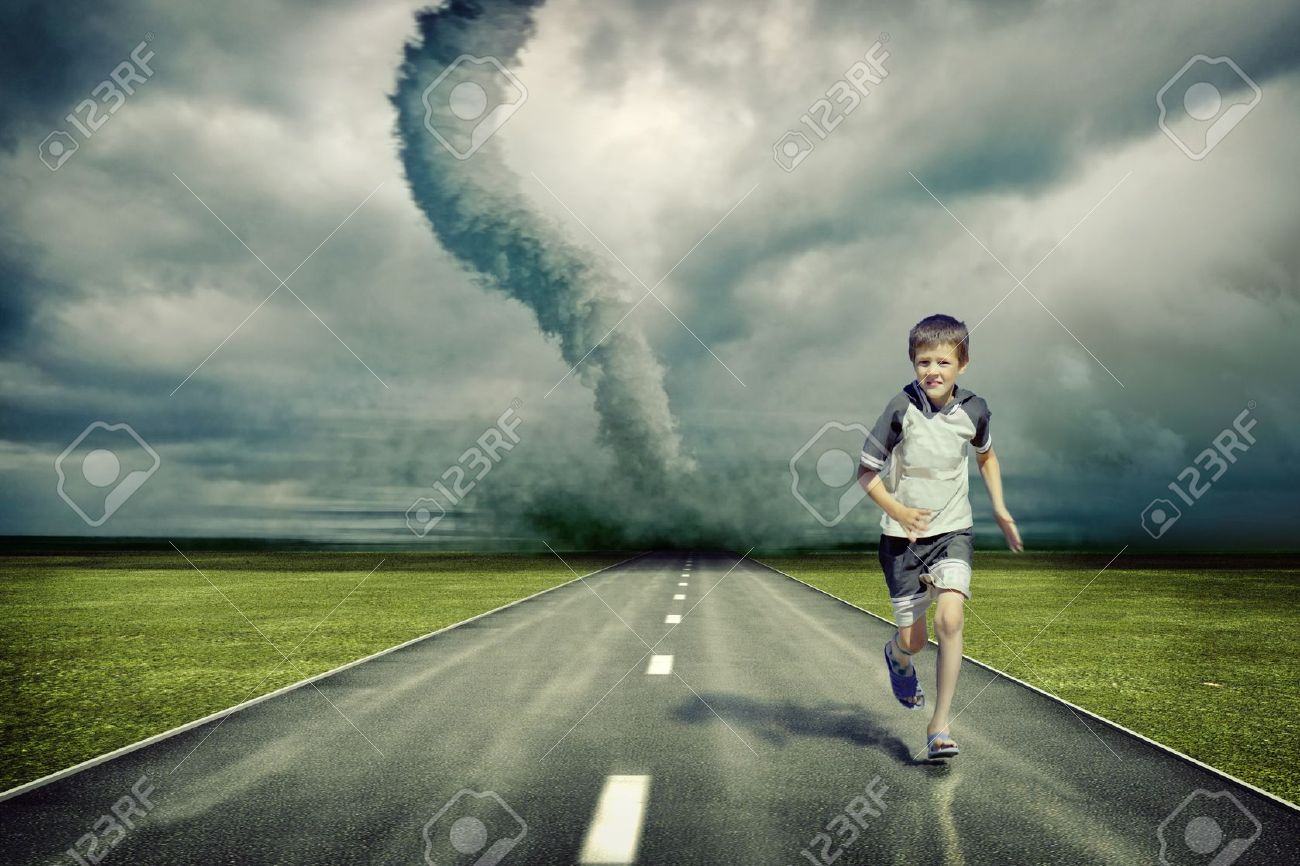 large tornado over the road and running boy ( photo and hand-drawing elements combined) Stock Photo - 7873162