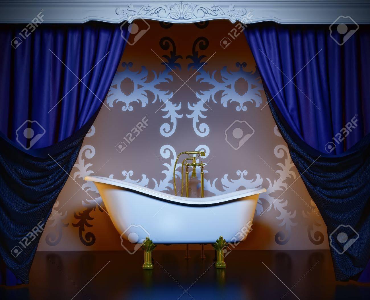 classic style luxury bathroom interior (3D rendering) Stock Photo - 8588162